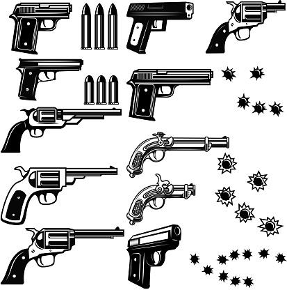 Handguns illustration isolated on white background. Bullet holes. Vector illustrations