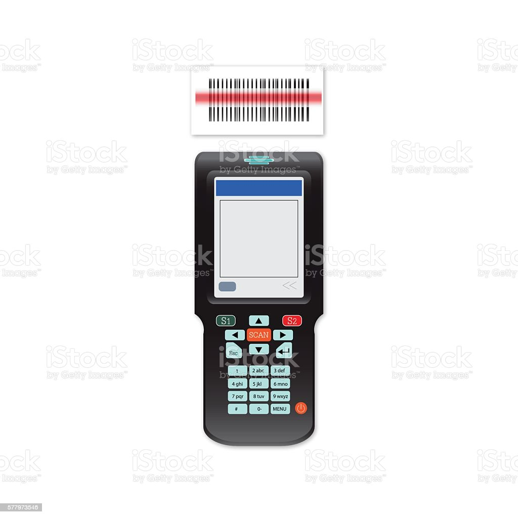 Handheld Mobile Computer in hand or scanner barcode. vector art illustration
