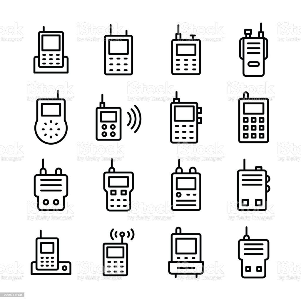 Handheld Radio Line Vector Icons Set vector art illustration