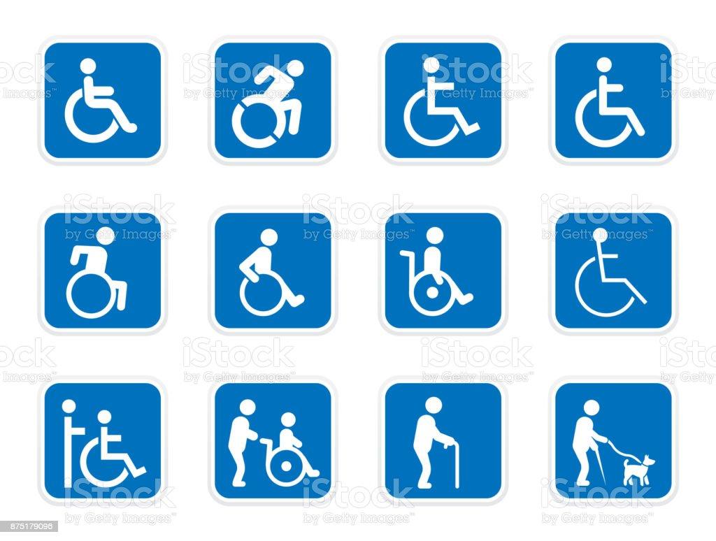iconos de la discapacidad, personas con discapacidad - ilustración de arte vectorial