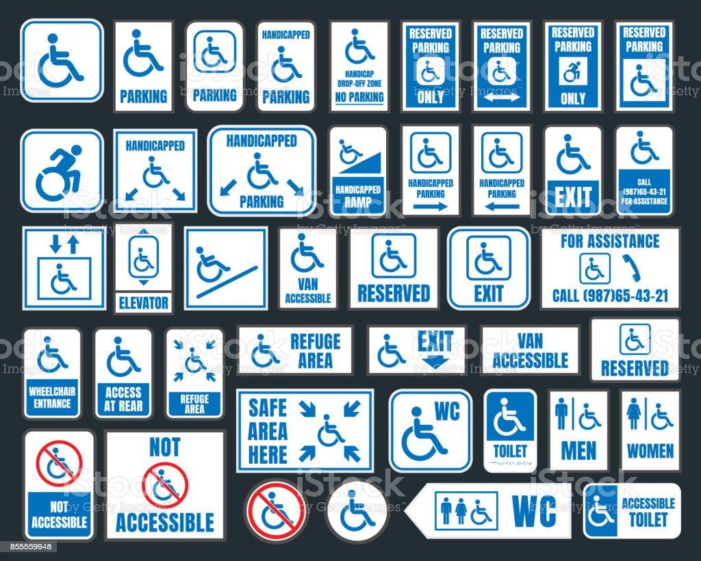 la desventaja de los iconos, señales de estacionamiento y aseo, las personas con discapacidad - ilustración de arte vectorial