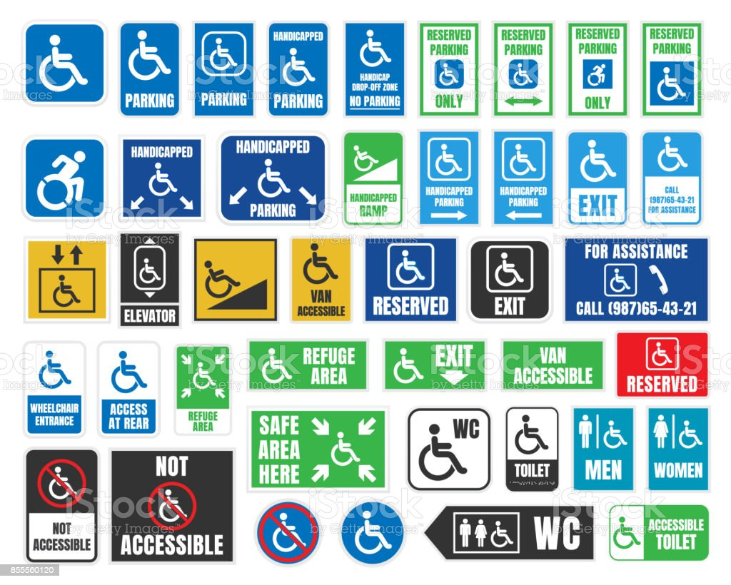 desventaja las etiquetas y señales, discapacitados los iconos y las etiquetas engomadas - ilustración de arte vectorial
