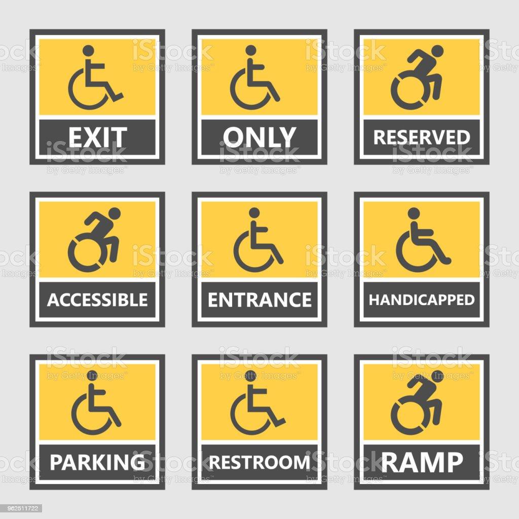 Handicap Schilder Und Etiketten Behinderte Menschen Symbole