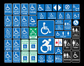 Vector pack of different handicap accessibility sings