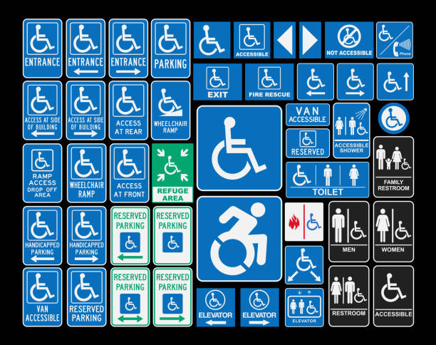 Handicap signs Vector pack of different handicap accessibility sings bathroom symbols stock illustrations