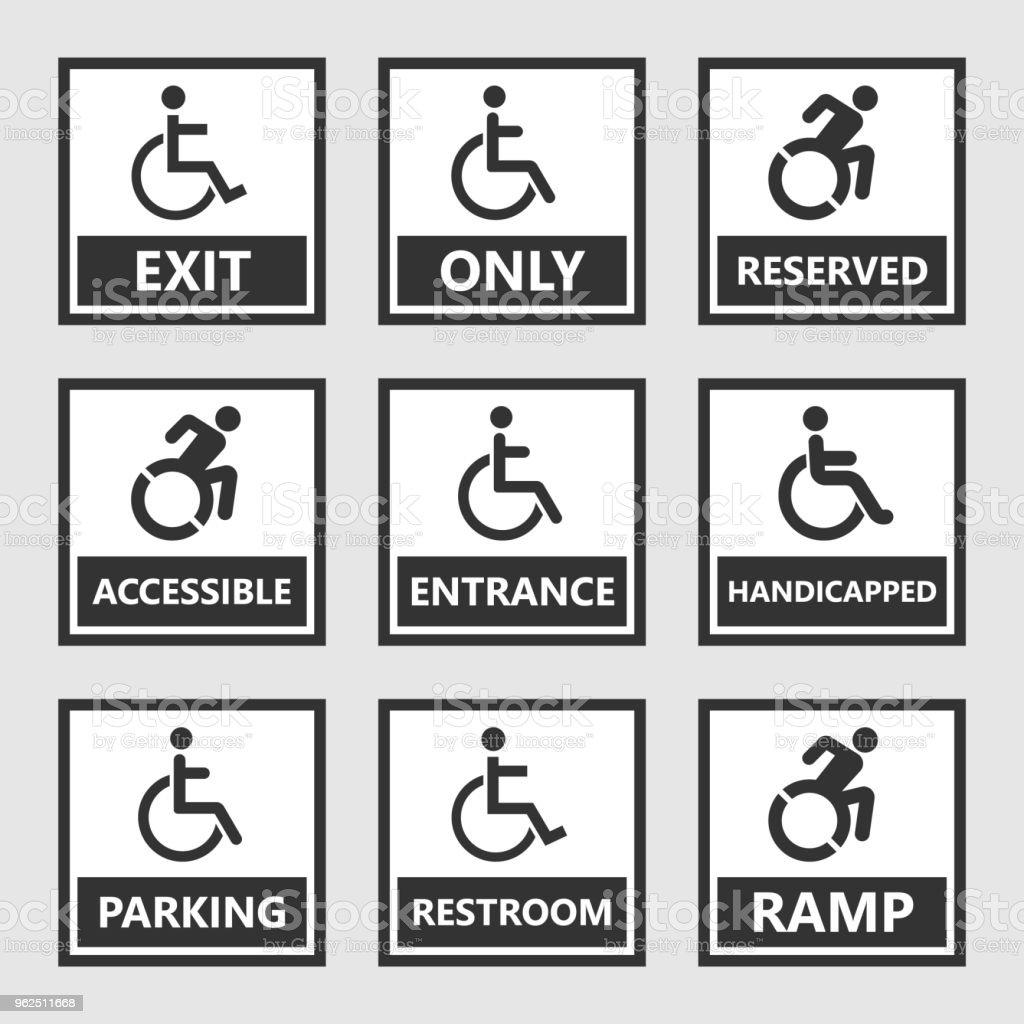 sinais de deficiência, wc e estacionamento ícones, pessoas com deficiência - Vetor de Acessibilidade royalty-free