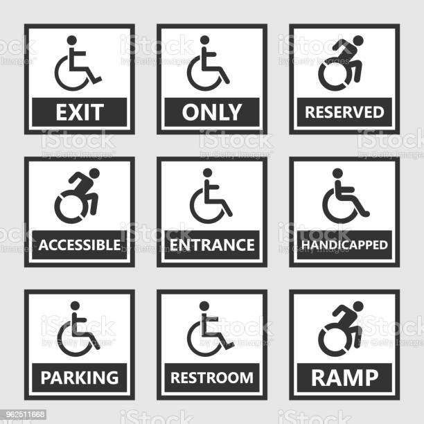 Vetores de Sinais De Deficiência Wc E Estacionamento Ícones Pessoas Com Deficiência e mais imagens de Acessibilidade