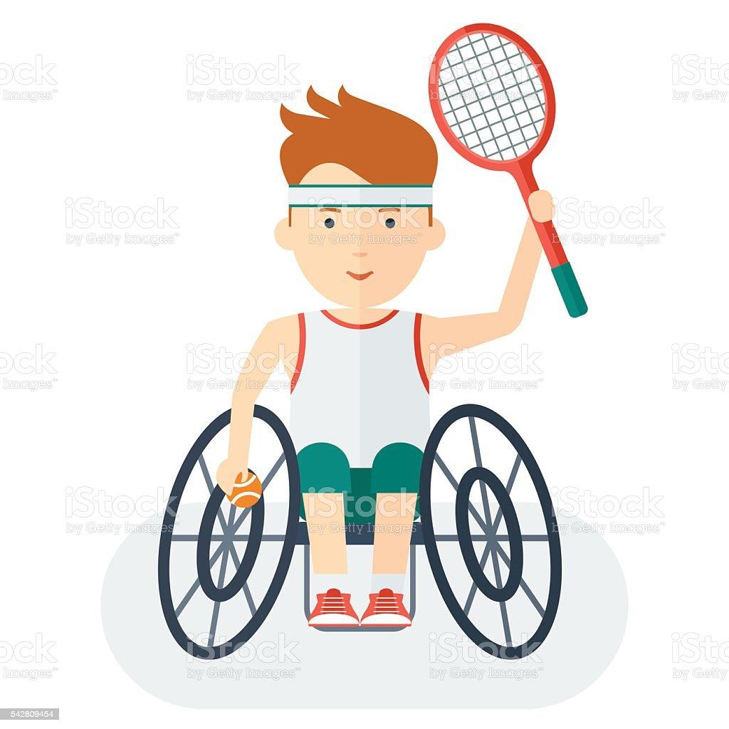 Handicapped athlete tennis player vector art illustration