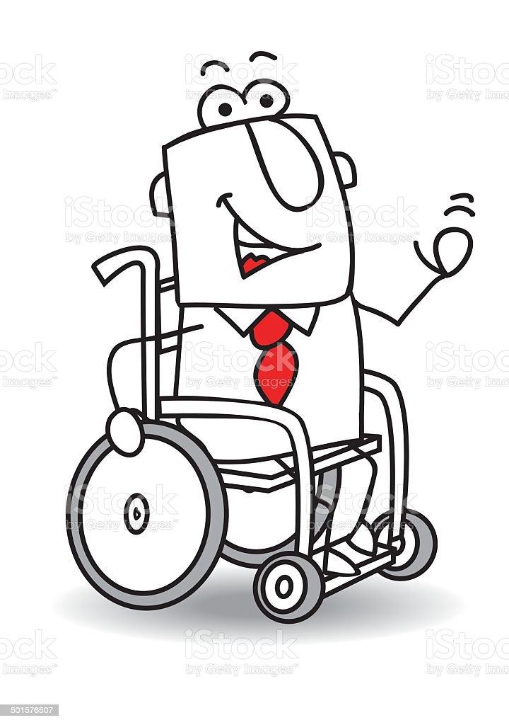 Bürostuhl comic  Behinderten Geschäftsmann Vektor Illustration 501576507 | iStock