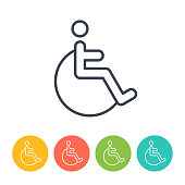 Handicapped Disabled Invalid Icon - Thin Line Vector. Health and Medicine