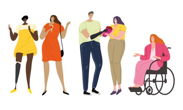 殘疾或殘疾青年享受生活載體插圖 - 健康科技 幅插畫檔、美工圖案、卡通及圖標