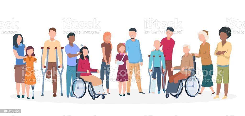 Handicapped people. People with disabilities happy friendly family. Disable injury persons with assistants - Royalty-free Acessibilidade arte vetorial