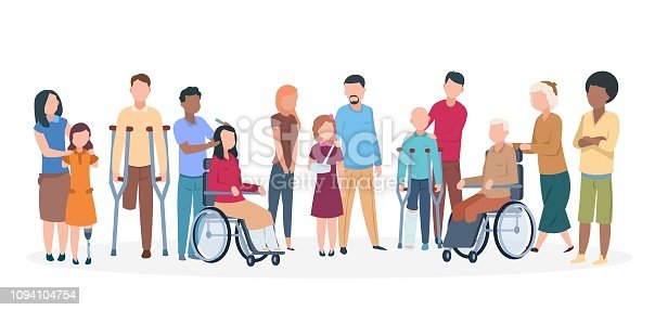 istock Handicapped people. People with disabilities happy friendly family. Disable injury persons with assistants 1094104754