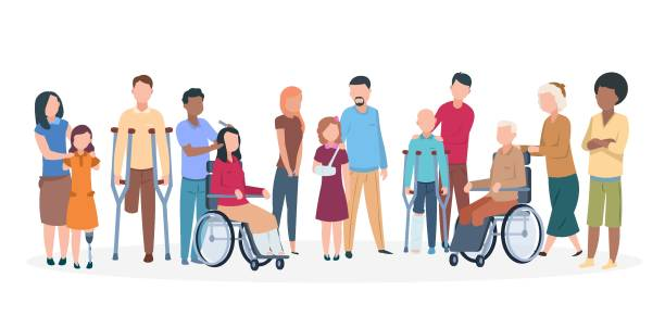 ilustrações de stock, clip art, desenhos animados e ícones de handicapped people. people with disabilities happy friendly family. disable injury persons with assistants - handicapped