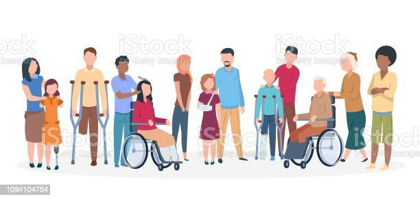 Handicapped People People With Disabilities Happy Friendly Family Disable Injury Persons With Assistants - Arte vetorial de stock e mais imagens de Acessibilidade