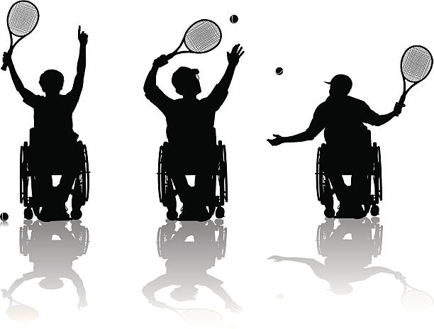 handicapped tennis players - wheelchair sports stock illustrations, clip art, cartoons, & icons