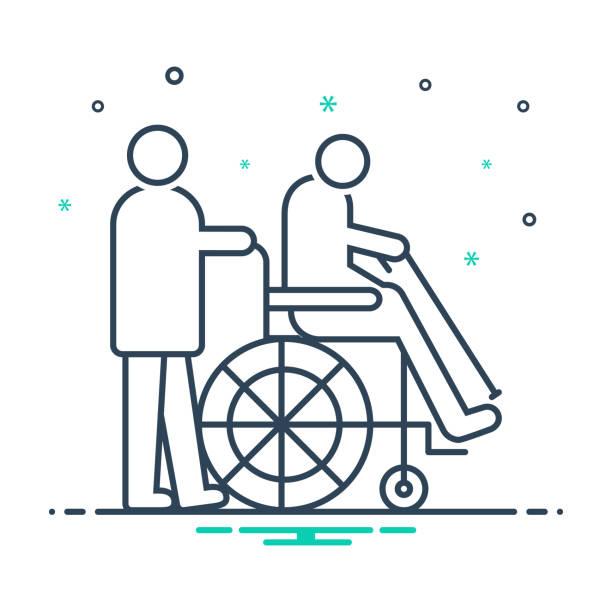 ilustraciones, imágenes clip art, dibujos animados e iconos de stock de para personas con discapacidades - geriatría