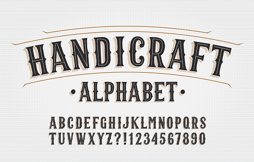 Handicraft alphabet font. Hand drawn letters and numbers. Stock vector typescript for your typography design.