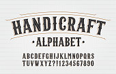 istock Handicraft alphabet font. Hand drawn letters and numbers. 1290958075