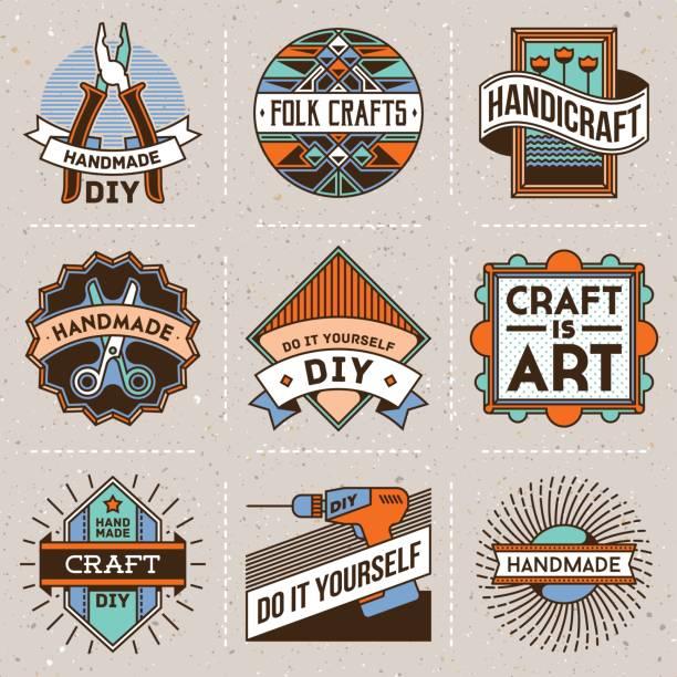 Handicraft and DIY Insignias icontypes Template Set 1. Line Art Vector Elements. Handicraft and DIY Insignias icontypes Template Set 1. Line Art Vector Elements. diy stock illustrations