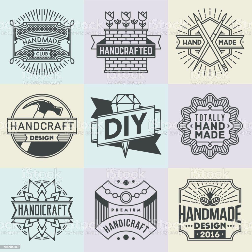 Handicraft And Diy Insignias Symbols Template Set 2 Line Art ...