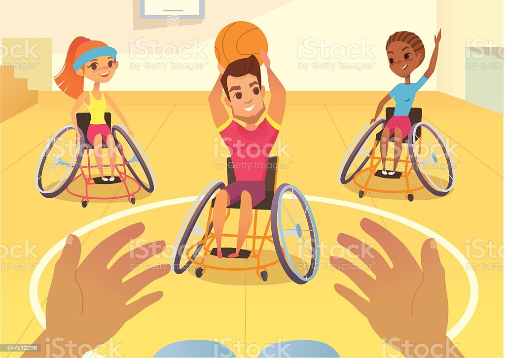 Handisport. Boys and girls in wheelchairs playing baysball in a - ilustración de arte vectorial