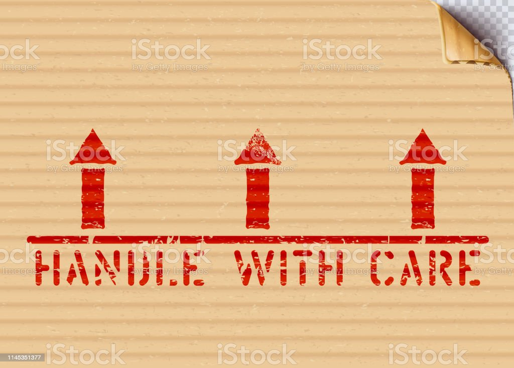 Handle with care and arrows up pictogram on a grunge background. This...