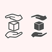 Handle with care line and glyph icon. Shipping label cube box parcel with hands. Postal service vector design concept, outline style pictogram on white background, use for web and app. Eps 10