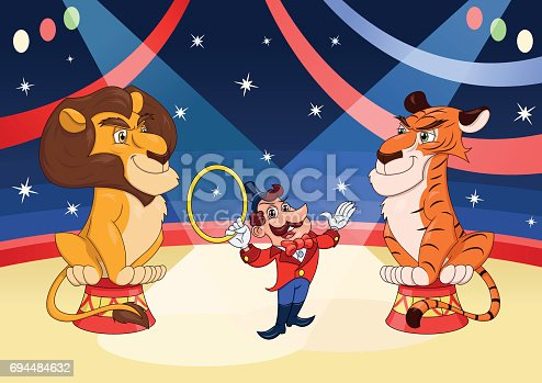 Illustration of the handler with lion and tiger at circus