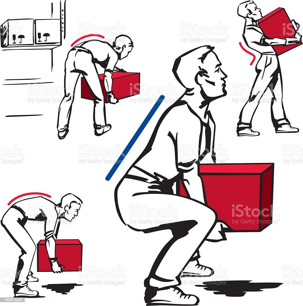 Handling of heavy items vector art illustration