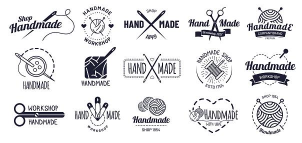 Handmade badges. Hipster craft badge, vintage workshop labels and handcraft logo vector illustration set