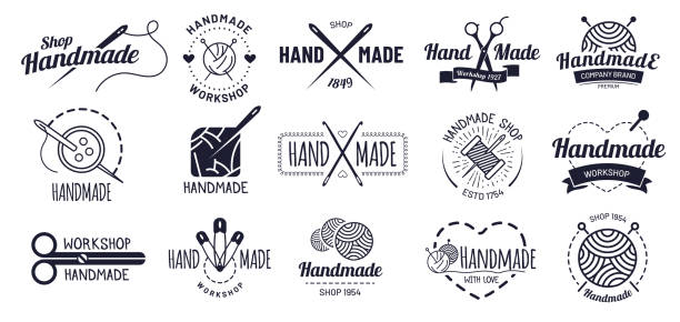 Handmade badges. Hipster craft badge, vintage workshop labels and handcraft logo vector illustration set Handmade badges. Hipster craft badge, vintage workshop labels and handcraft logo. Logotype workshop, hand made craft insignia tag or authentic ink sticker. Isolated icons vector illustration set homemade stock illustrations