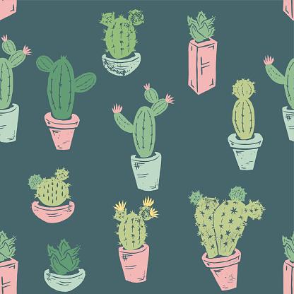 Handmade Cactus Seamless pattern