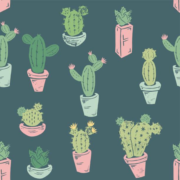 handgemachte kaktus nahtlose muster - bildkomposition und technik stock-grafiken, -clipart, -cartoons und -symbole