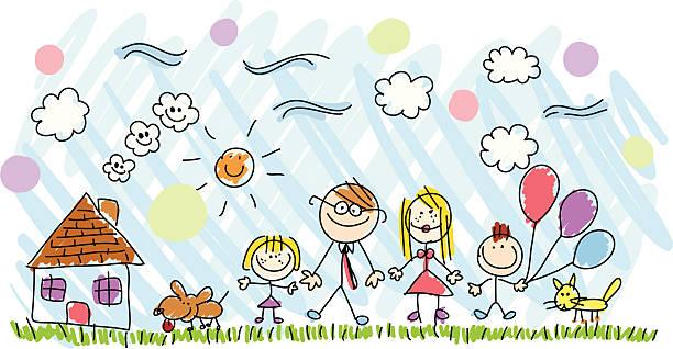 ilustraciones, imágenes clip art, dibujos animados e iconos de stock de familia ilustración de dibujo dibujo hecho a mano - nietos