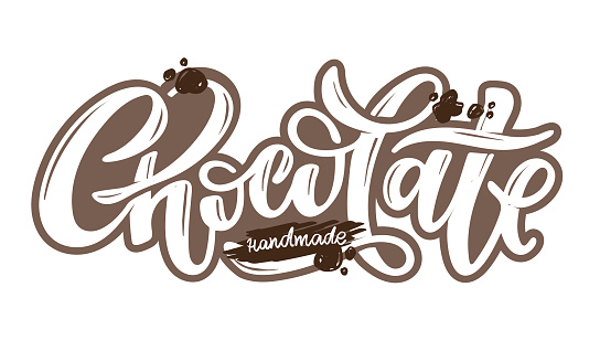 Handmade chocolate. Lettering hand drawn doodle label art. Calligraphic poster. Lettering for poster, banner, t-shirt design.