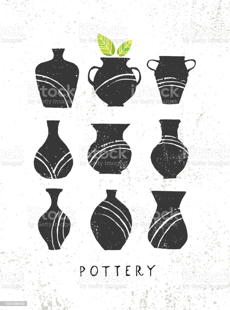 Handmade Clay Pottery Workshop Artisanal Creative Craft Sign Concept Organic Illustration On Textured Background Stock Illustration Download Image Now Istock