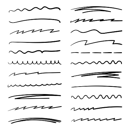 Handmade collection set of underline strokes in marker brush doodle style. Various Shapes. Vector graphic design