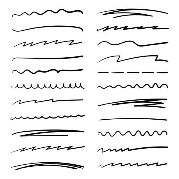 ręcznie wykonany zestaw pociągnięć podkreślenia w stylu doodle pędzla markera. różne kształty. projekt graficzny wektorowy - pióro przyrząd do pisania stock illustrations