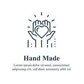 istock Handmade concept, manually made, handcraft product, hands holding heart, volunteer event, nonprofit foundation 1214509117