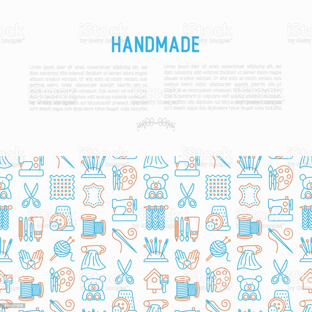 Handmade concept with thin line icons: sewing machine, knitting, needlework, drawing, embroidery, scissors, threads, yarn, pin. Modern vector illustration, template for workshop, print media. royalty-free handmade concept with thin line icons sewing machine knitting needlework drawing embroidery scissors threads yarn pin modern vector illustration template for workshop print media stock vector art & more images of ball of wool