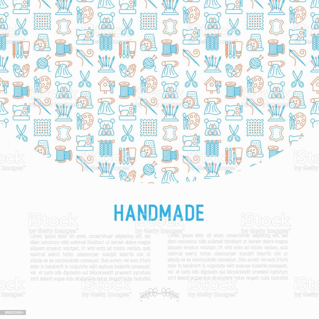 Handgemachte Konzept Mit Dünne Linie Symbole Nähmaschine