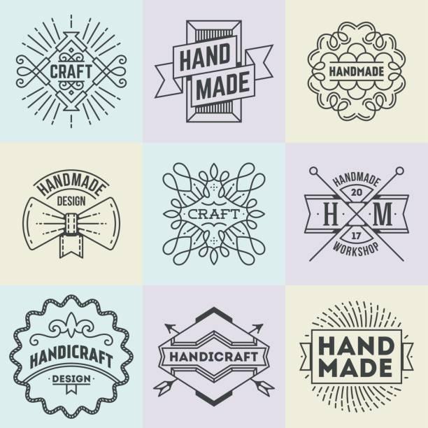 handgemachte handwerk insignien symbole linie kunst set. vintage vektorelemente. - hausgemacht stock-grafiken, -clipart, -cartoons und -symbole