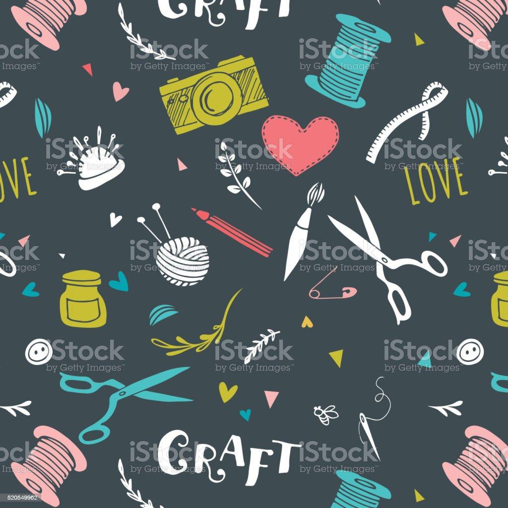 Handarbeit Und Handwerk Muster Und Handgezeichnet Hintergrund Stock ...