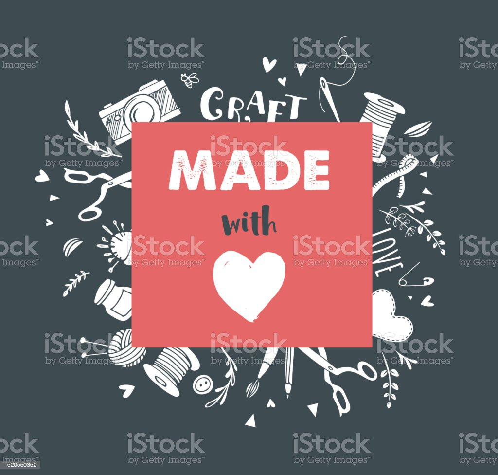 Handmade Crafts Workshop Art Fair And Festival Poster Stock Vector