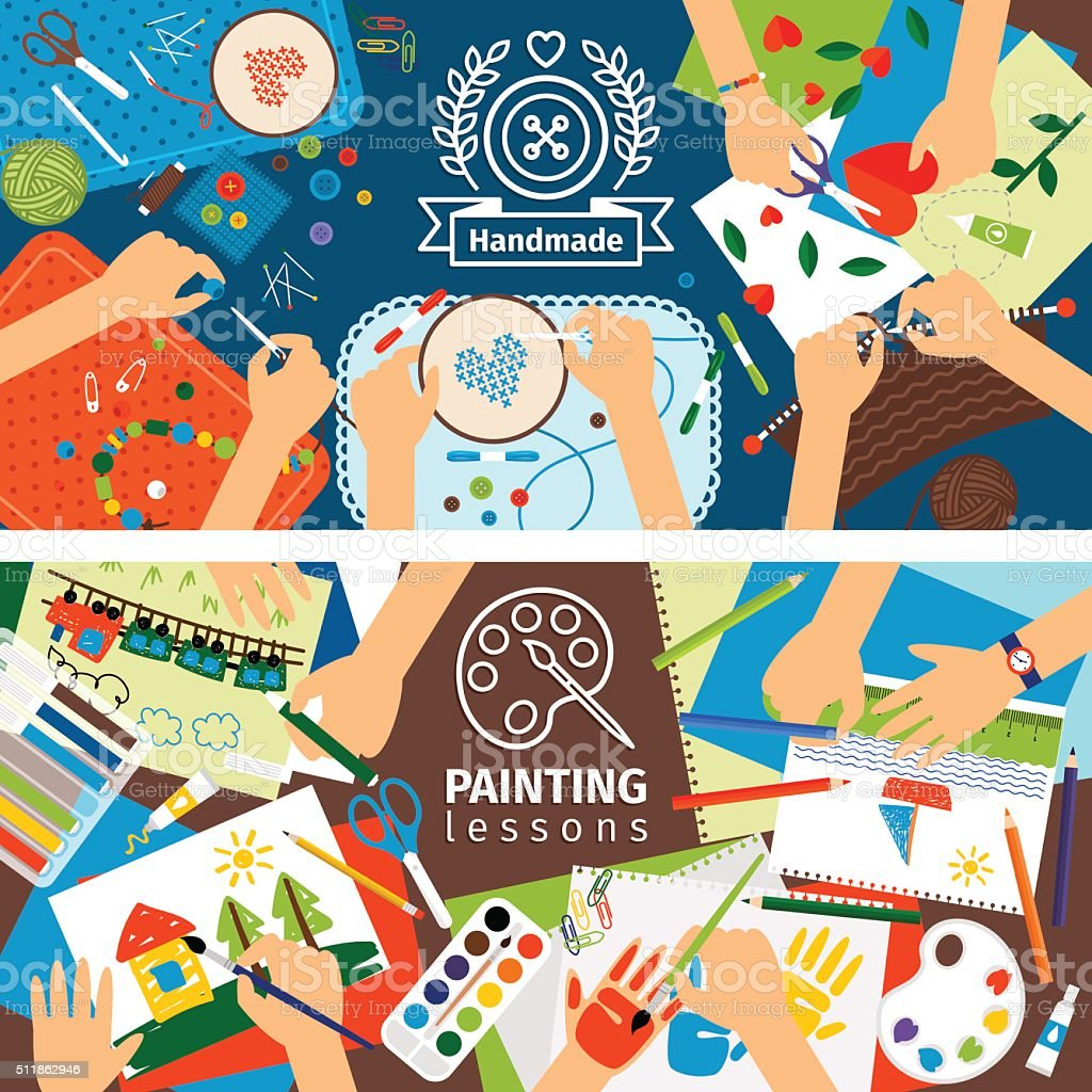 créative enfants Bannières de la main - Illustration vectorielle