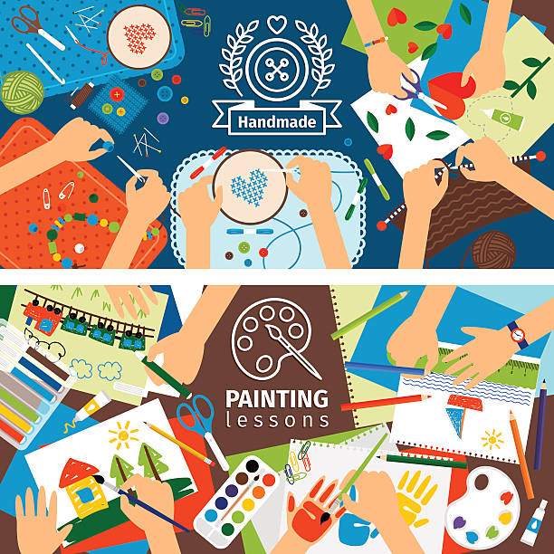handmade creative kids banners - artsy backgrounds stock illustrations