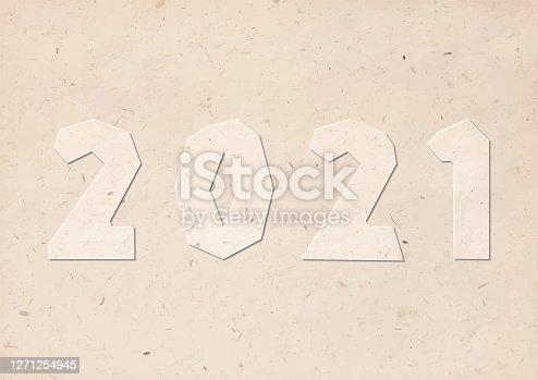 istock 2021 handmade cut numbers with brown kraft carton paper handicraft font style 1271254945