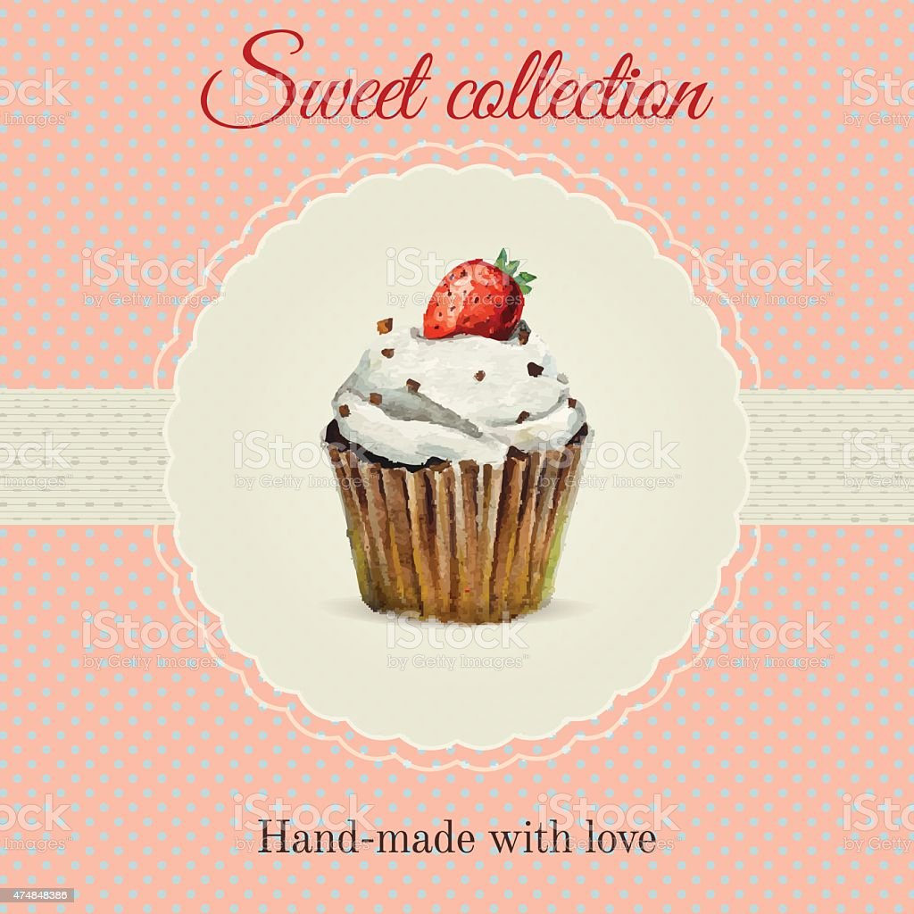 handmade desserts flyer template with watercolor cupcake