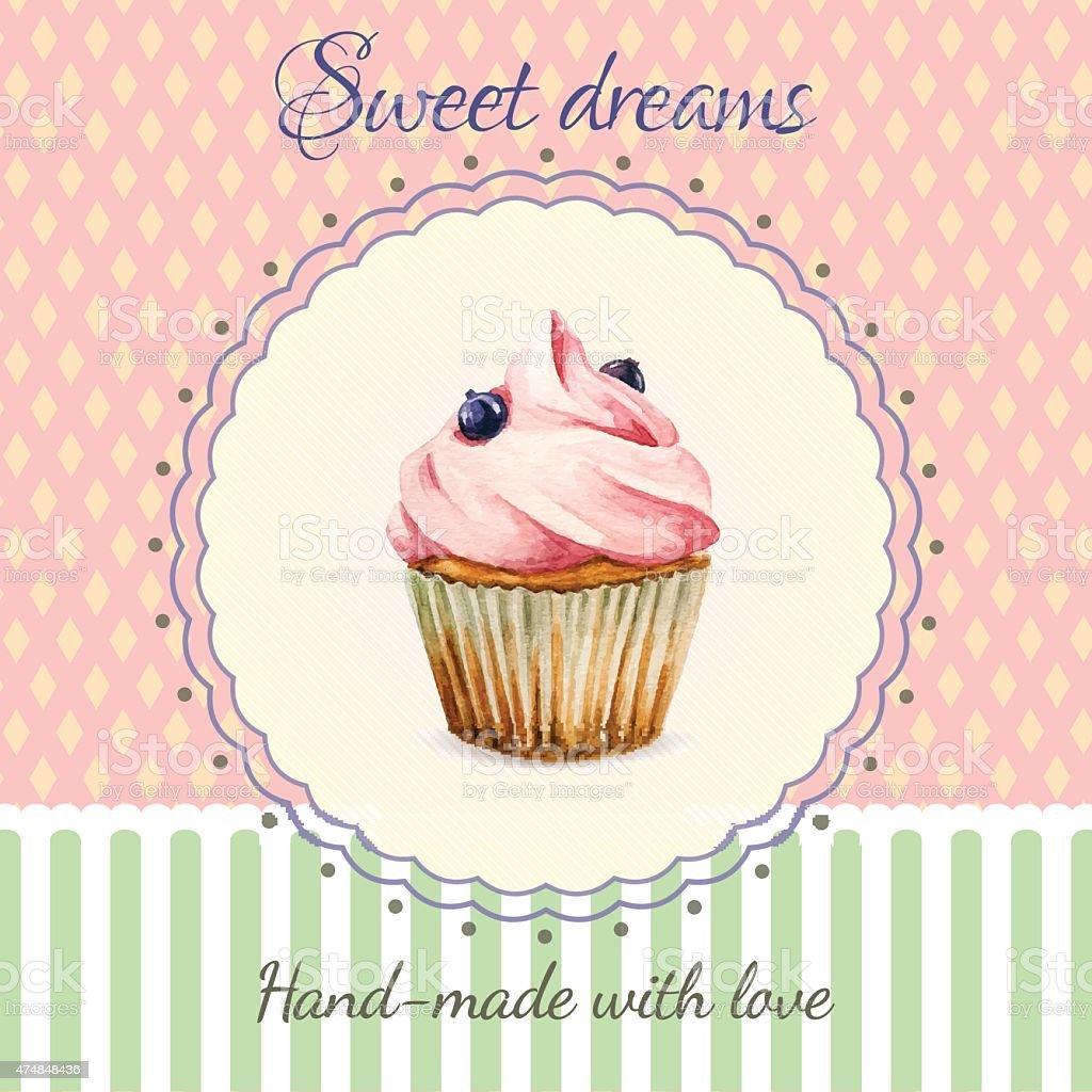 Hausgemachte Desserts Flyer Vorlage Mit Aquarell Cupcakeillustration ...